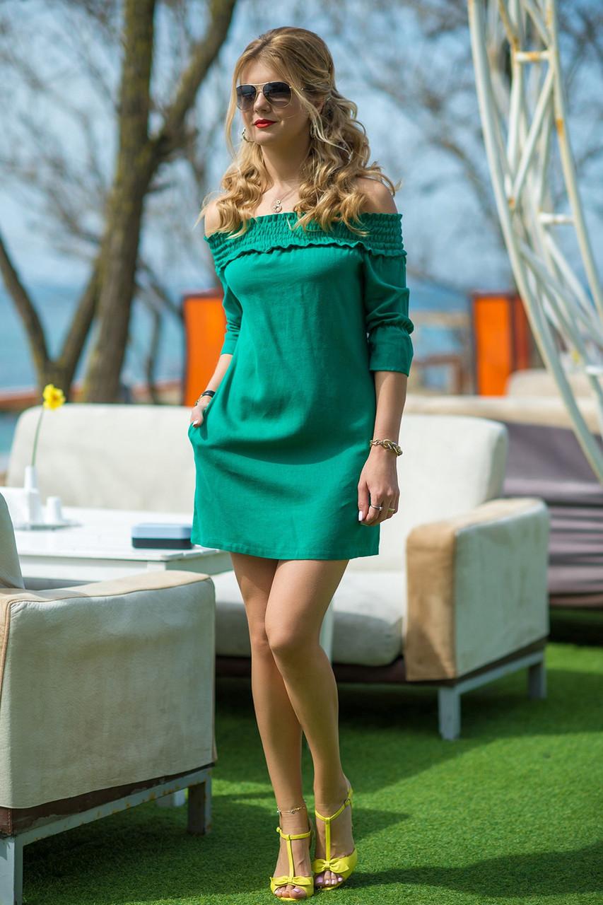 Льняное летнее Платье Вероник зеленое