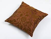 Наволочка декоративная шелковая бархат коричневый 45х45