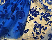 Ткань Гипюр с бархатным напылением Синие Розы,АРТ ТЕКСТИЛЬ ткани Украина