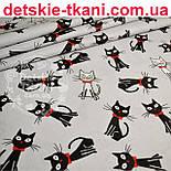 """Ткань хлопковая """"Чёрные коты с красным бантиком"""" на сером фоне (№ 714), фото 3"""