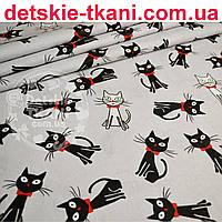 """Ткань хлопковая """"Чёрные коты с красным бантиком"""" на сером фоне (№ 714)"""
