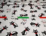 """Ткань хлопковая """"Чёрные коты с красным бантиком"""" на сером фоне (№ 714), фото 5"""