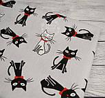 """Ткань хлопковая """"Чёрные коты с красным бантиком"""" на сером фоне (№ 714), фото 6"""