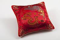Наволочка декоративная шелковая дракон красный 45х45