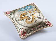 Наволочка декоративная шелковая дракон крем 45х45