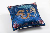 Наволочка декоративная шелковая дракон синий 45х45