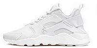 Мужские кожаные кроссовки Nike Air Huarache White (Найк Хуарачи) белые