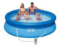 Семейный надувной бассейн Intex 305х76см 28122, фильтр-насос, удобный сливной клапан
