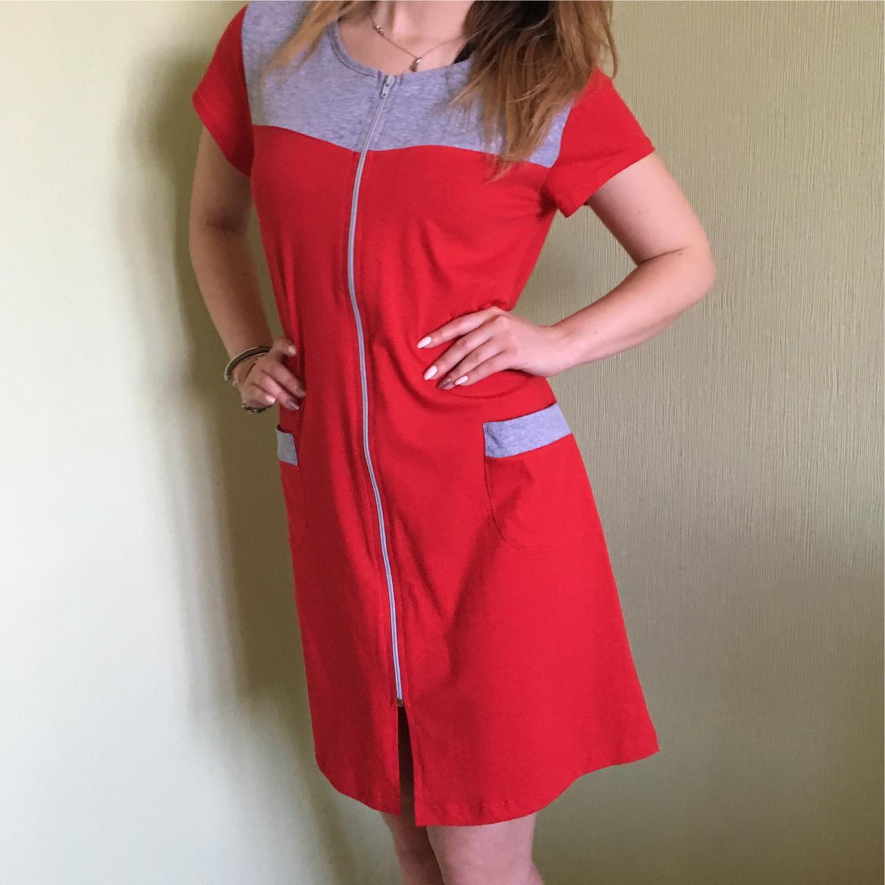 2e7926b1dd1a Халат женский трикотажный летний на замке, Турция - Модные вещи оптом и в  розницу