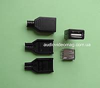 Гнездо USB разборное на кабель для пайки, фото 1