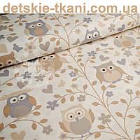 """Ткань хлопковая """"Бежевые совы на бежевых деревьях"""" (№ 716)"""