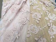 Ткань гипюр на сетке с бархатным напылением Пудра,АРТ ТЕКСТИЛЬ ткани Украина