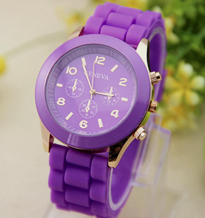Женские часы силиконовые Geneva Luxury Purple фиолетовые