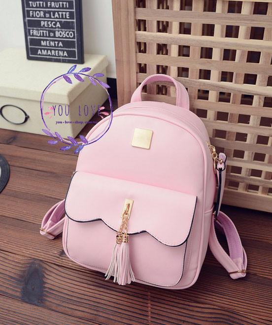 Женский рюкзак с кисточками  Розовый