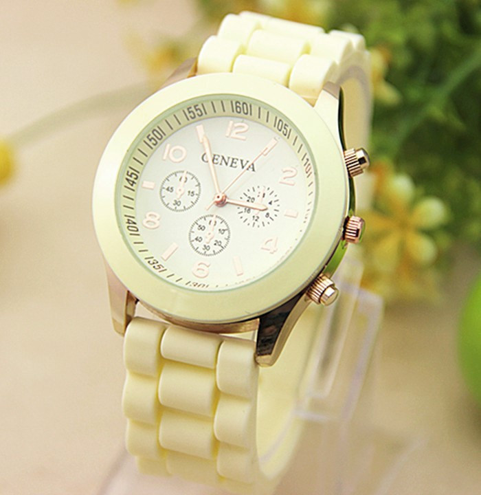 Женские часы силиконовые Geneva Luxury Citron лимонные