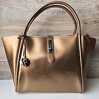 Женская кожаная сумка серая бронзовая