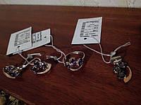 Серебряный комплект украшений с фиолетовым альпинитом  17,5р с подвесом