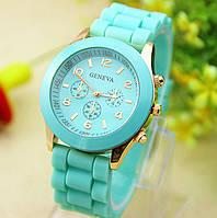 Женские часы силиконовые Geneva Luxury Mint мятные, фото 1