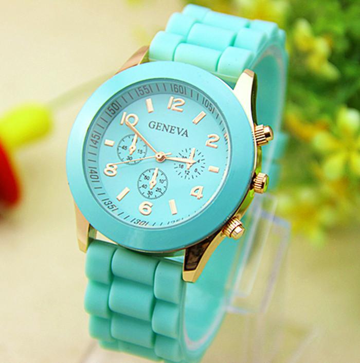 Женские часы силиконовые Geneva Luxury Mint мятные