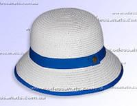 Красивая женская  летняя шляпка из рисовой соломки  цвет :  белый