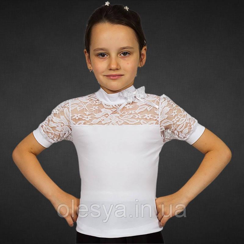 Школьная блуза с коротким рукавом из белой фуликры Размер 36