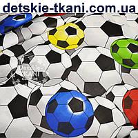 """Ткань хлопковая для постельного белья """"Футбол"""" (№ 718)"""
