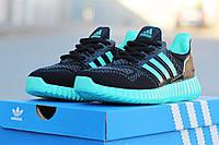 Женские кроссовки Adidas Ultra boost, черные с мятой / кроссовки для девочек Адидас Ультра Буст, модные