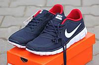 Мужские кроссовки Nike Free Run 5.0 синие с красным и белым