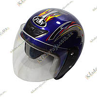 Мото шлем Helmet FGN, ¾, Котелок, Круизер, Чоппер, полулицевик Blue, фото 1