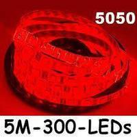 Лента красная светодиодная 300 SMD5050 Red - 5 метров в Силиконе!Опт