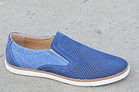 Туфли, мокасины мужские натуральная кожа, джинс летние синие 44