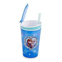Стакан непроливайка-контейнер 2 в 1 с трубочкой Frozen Disney!Опт