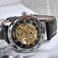 Часы мужские наручные Winner Skeleton black-gold