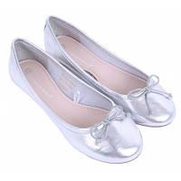 01-15 Серебристые женские балетки Francheska