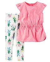 Комплект для девочки с розовой туникой Carters Цветы , Размер 24м, Размер 24м