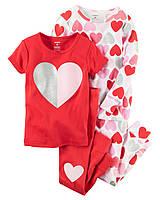 Комплект детских пижам для девочки Carters Сердечки