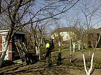 Обработка деревьев сада опрыскивателем Защита деревьев. Уход за садом Услуги садовника Обрезка  сада Киев