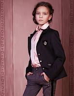 Школьный пиджак для девочки Baby Angel 689, цвет черный р.122