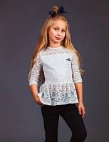 Кружевная школьная блузка для девочки Baby Angel 795 молочного цвета