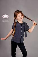 Шифоновая школьная блузка для девочки Baby Angel 835, цвет синий р.146