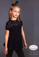 Кружевная школьная блузка для девочки Baby Angel 811, цвет синий