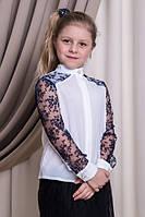 Нарядная школьная блузка Suzie Софи, цвет белый с синим