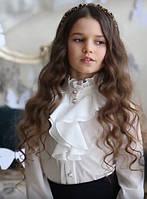Нарядная школьная блузка Suzie Сьюзен, цвет молочный