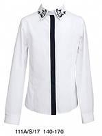 Школьная блузка для девочки Sly 111B/S/17, цвет белый с синим