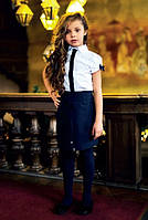 Школьная блузка с коротким рукавом Sly 122B/S/17, цвет белый с синий