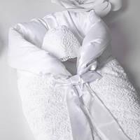 Конверт на выписку утепленный Mimino Люли-Люли (с шапочкой), цвет белый