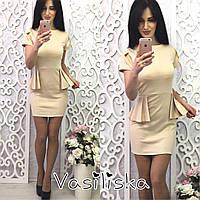 Платье модное летнее с баской мини трикотаж 4 цвета SMV1329