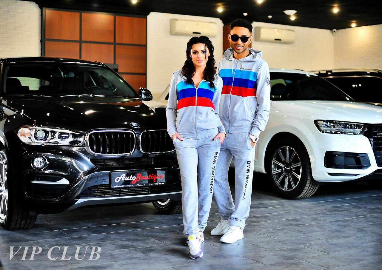 Женский спортивный костюм BMW с тремя полосками, кофта на молнии с капюшоном, штаны зауженные с карманами.
