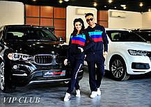 Женский спортивный костюм BMW с тремя полосками, кофта на молнии с капюшоном, штаны зауженные с карманами., фото 2