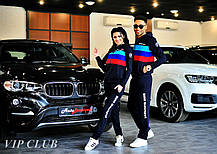 Женский спортивный костюм BMW с тремя полосками, кофта на молнии с капюшоном, штаны зауженные с карманами., фото 3